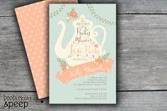 This Tea Party Baby Shower Invitation is a great gender neutral option for your afternoon tea event! In modern colors of coral and blue, this Tea Party Invitations, Printable Baby Shower Invitations, Bridal Shower Invitations, Invites, Bridal Shower Tea, Tea Party Bridal Shower, Baby Shower Parties, Shower Baby, Boy Baby Shower Themes
