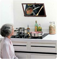 Over Stove Mirror.  #aginginplace   #homewithoutage