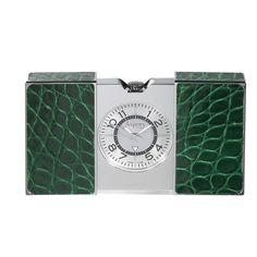 Asprey Clic Clac Travel Clock, Green Alligator  $1,200