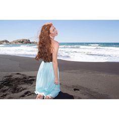 fashion editorial with Beatriz photo #pegasuspro styled by #blessthatdress #vintage #deadstock #summer #vintagefashion #beach #model #redhead #fashionphotography #vintageshop #deadstok #vintageskirt #blueskirt #sheerskirt