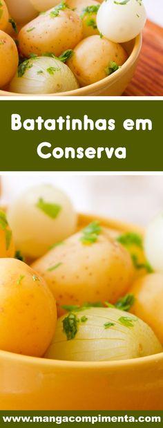 Receita de Batatinhas em Conserva - delicioso para petiscar ou servir na salada! #receitas