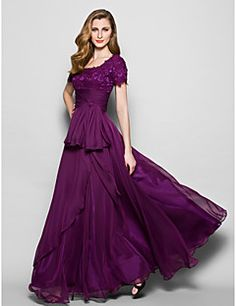 Mother of the Bride Dress Floor-length Short Sleeve Chiffon ... – USD $ 119.99