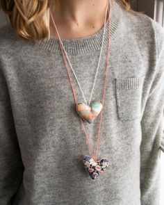 DIY Sweet Heart Valentine Necklaces by purlbee: A snap to make! #DIY #Heart_Necklace #Valentines