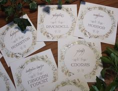 Elvish Wedding Table Names / Lord of the Rings Wedding Table Names