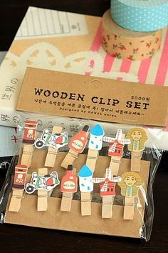 """This is super cute wooden clip set- Weight: 30g- Material: wood- Size: approx. 1cm x 3.4cm (0.4"""" x 1…"""