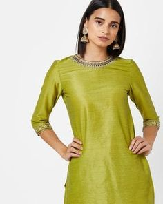 Check out Straight Kurta with Embroidery on AJIO! Cold Shoulder Dress, Tunic Tops, India, Embroidery, Green, Check, Shopping, Dresses, Fashion