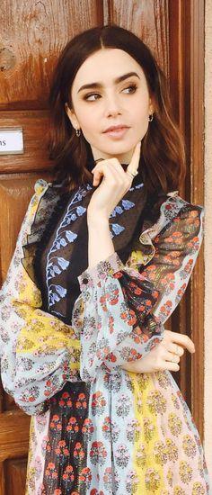 Lily Collins in Dress -Giambattista Valli Jewelry – Anita Ko
