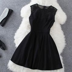 Ladylike V-Neck Sleeveless Solid Color Lace Dress For Women blackLadylike V-Neck Sleeveless Solid Color Lace Dress For Women black Cheap Club Dresses, Cute Dresses, Beautiful Dresses, Prom Dresses, Gauze Dress, Dress Up, Skater Dress, Cute Black Dress, New Years Eve Dresses