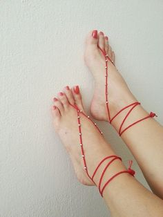 Red & silvery Oriental barefoot sandals - Feet Accesories - Summer - Footwear - nude shoes sandles - foot jewelry, yoga, beach via Etsy