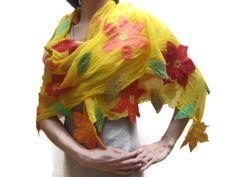Nuno felted yellow flower shawl scarf wrap wool by feltinga, $39.90  could make with flowers between gauzy fabric