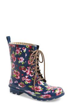 ain tão linda Floral Print Combat Rain Boot by Chooka