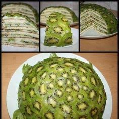 This is so weird looking, but I love kiwi and the inside lookso good! Kiwi Turtle Fruit Cake -  Have you ever seen a Turtle Kiwi Cake...well now you have  #cake #creative #kiwi