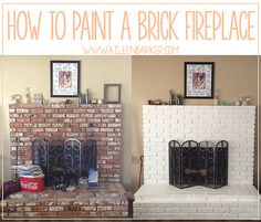 How to Paint a Brick Fireplace - Life by Aileen Painted Brick Fireplaces, Paint Fireplace, White Fireplace, Fireplace Remodel, Fireplace Makeovers, Fireplace Brick, Home Renovation, Home Remodeling, Hirsch Design