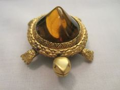 "Vintage Rare Signed ""Tortolani""  Amber Unusual Humped Back Turtle Brooch"