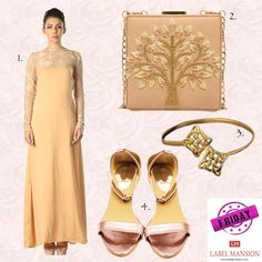 Friday Must-Haves for a classy woman! 1. Gold Lace Detailed Gown 2. Beige Tree Clutch 3. Charmed Bangle 4. Purple Metallic Stilettos - www.labelmansion.com #labelmansion #friday #tgif #look #getthelook #gown #clutch #bangle #stilettos #ootn #shoponline #india