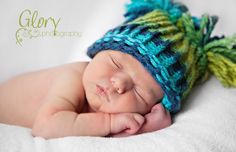 Pom+Pom+Baby+Boy+Hat++Knitted+Blue+&+Green+by+inamood+on+Etsy,+$16.00