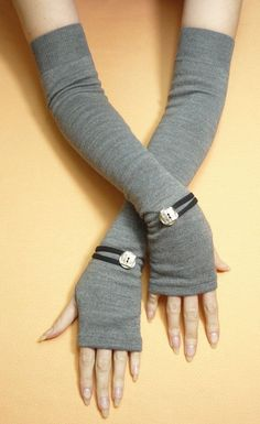 26f5ae8cf0 Long Grey Fingerless Gloves with Metal Buttons, Boho Armwarmers, Tattoo  Covers