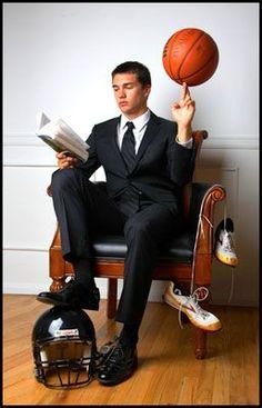 Shirt/tie cleats, helmet, hockey stick, skates over the edge... right on!  Maybe even a book... hahahaha!