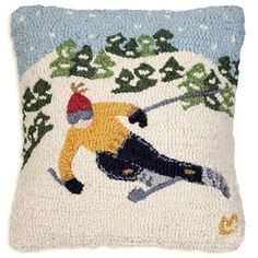 Our beautiful hand hooked wool pillows are perfect home accents for living rooms, family rooms, bedrooms and everywhere you want to bring life to your home. Wool Pillows, Wool Rug, Ski Decor, Black Forest Decor, Hand Hooked Rugs, Designer Throw Pillows, Rug Hooking, Pillow Design, Skiing