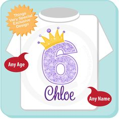 6th Birthday Shirt Purple Outfit By ThingsVerySpecial 5th Girls Princess
