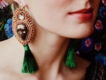 Calaveritas - bead embroidery earrings with tassel