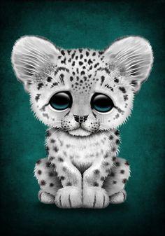 Cute Baby Snow Leopard Cub on Teal Blue by Jeff Bartels