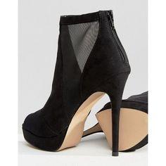 ALDO Jaina Mesh Detail Peeptoe Platform Heeled Ankle Boots ($55) ❤ liked on Polyvore featuring shoes, boots, ankle booties, peep toe bootie, peep toe boots, aldo boots, peep-toe booties and aldo booties