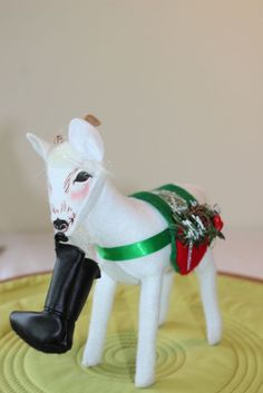 Annalee Alpine Holly Goat Figurine eating Santa's Boot Yule Goat, Pyrex, Goats, Santa, Christmas Ornaments, Holiday Decor, Kitchen, Cooking, Christmas Jewelry