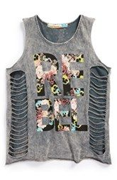 Vintage Havana 'Floral Rebel' Cutout Side Tank Top (Little Girls & Big Girls)