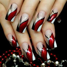 Red Ribbon Bang Red Ribbon Bang More from my site Red & Silver New Collections of Best Valentine's Day Nail Art Design Fantastic Red Nails Ideas For Stylish Ladies ✨ REPOST – – Elegant Nail Designs, Pretty Nail Art, Elegant Nails, Beautiful Nail Designs, Cool Nail Art, Cute Acrylic Nails, Acrylic Nail Designs, Nail Art Designs, Nails Design