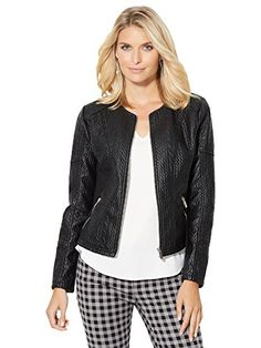 SALE PRICE  $49.97 - CableKnit Textured FauxLeather Jacket Knit panels allow for ease of movement on our chic, sleek moto jacket, designed in textured faux leather zip accents complete the look with an edgy effect. Crewneck.; Front zipper closure.; Front and back princess seams. Knit panels on body and under sleeve.; Front zipper pockets.; Back yoke.