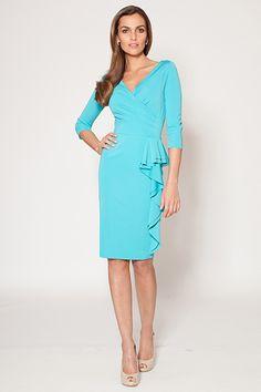 Side Draped 3/4 Sleeve Dress