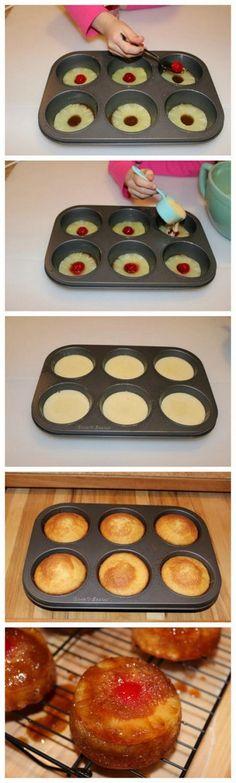 Mini Pineapple Upside Down Cakes (Serves 12) WWPP=??? #dessert