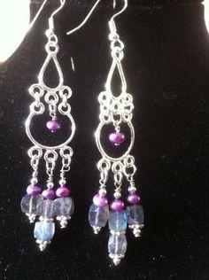 Pretty silver, labradorite  & pearl earrings