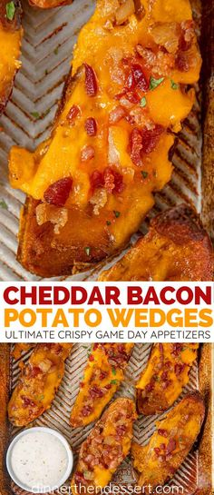 Cheddar Bacon Potato Wedges Cheddar Bacon Potato Wedges Sabrina (Dinner, then Dessert) eatnsweets I ♥ Easy Recipes! Cheddar Bacon Potato Wedges are fried with cheddar cheese and lots of bacon. It's the ultimate crispy appetizer for game day. Game Day Appetizers, Bacon Appetizers, Appetizer Recipes, Appetizers Superbowl, Recipes Dinner, Dessert Recipes, Game Day Recipes, Quick Appetizers, Desserts
