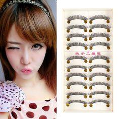 New 10 Pairs Thick Cross Long False Eyelash Eye Lash Party Makeup Eye Lashes Set Cheap M3