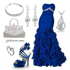 Fabulous gown and accessories! Lovely Dresses, Blue Dresses, Prom Dresses, Beautiful Clothes, Wedding Dress 2013, Wedding Gowns, Formal Gowns, Strapless Dress Formal, Silver Outfits