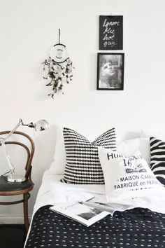 Black  White bedroom using stripes and tons of texture to the clean lines