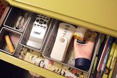 nightstand drawer organization idea