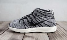 the latest 4375c e4de3 Nike Lunar Flyknit Chukka Black White-Sail  Part of the latest crop of Nike  Lunar Flyknit Chukkas is this new black white-sail colorway.