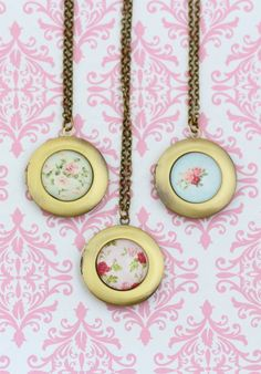 Shabby Chic Style Locket Necklace Brass