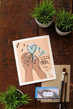 Hands Sketch Illustration Heart Quote  Wall Art Print  Blue and by Sail and Swan