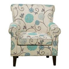 Cream fabric with blue and grey floral print.