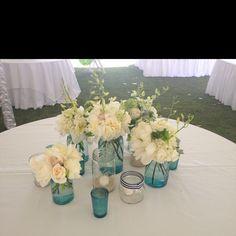 Blue mason jar wedding