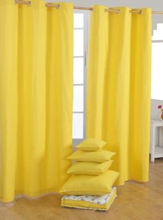 Pair of 100% Cotton Ready Made Curtains - Plain Colour - Yellow - 137 x drop 228 cm - 90 Inch Drop - Eyelet Ring Top