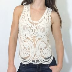 Beautifully detailed lace embroider blouse top New. No tags. No stains. No holes. Tops Tank Tops