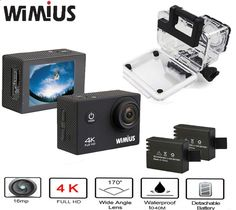 59.99$ Watch now - alic8x.worldwells... - Wimius Ultra 4K Action Cam WIFI WebCamera Full HD 1080P 16MP Mini Sport Camera 2.0 LCD Accessories Kit Go Waterproof Pro 40M 59.99$