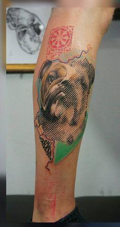 hund portrait halftone tattoo federico wiesbaden