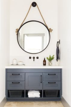 round mirror over vanity : Park City Canyons Remodel: Downstairs — STUDIO MCGEE