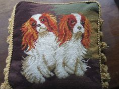 Adorable vintage needlework tapestry pillow/cushion of 2 King Charles spaniels SOLD